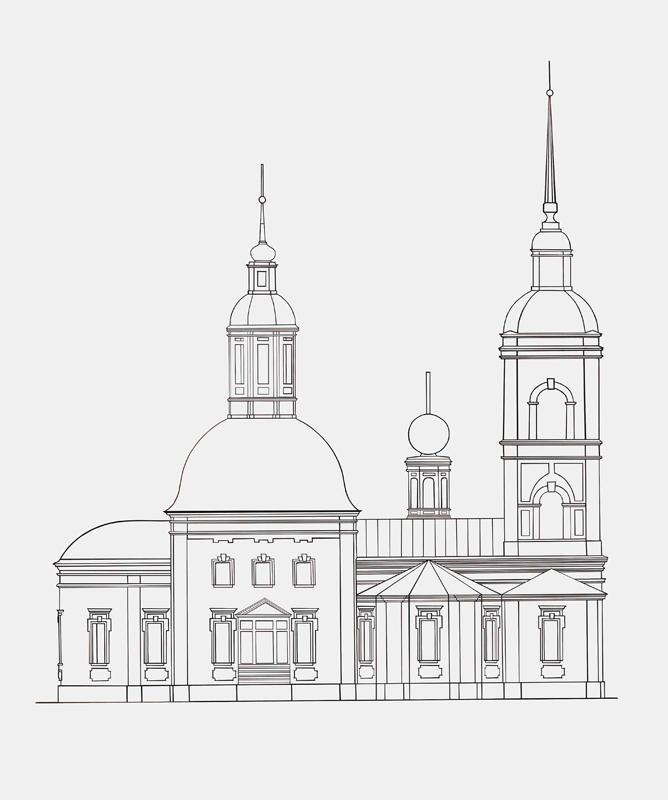 Графическая реконструкция внешнего вида храма