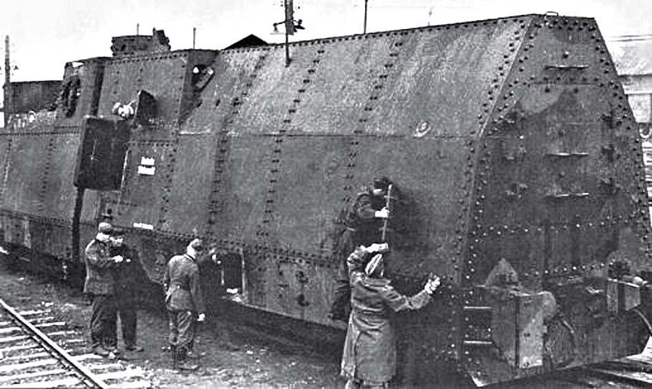 Захваченный немцами бронепоезд в Рославле