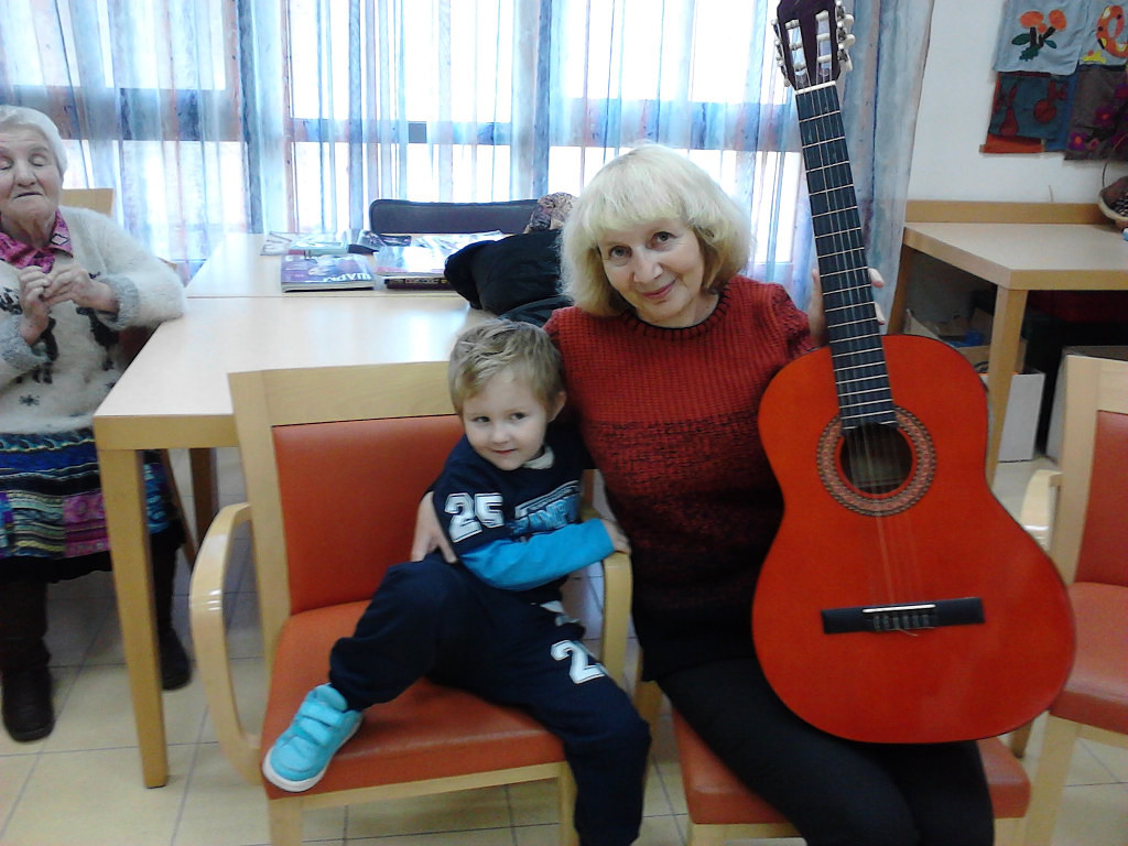На работе с внуком